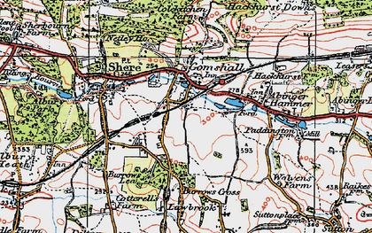 Old map of Gomshall in 1920