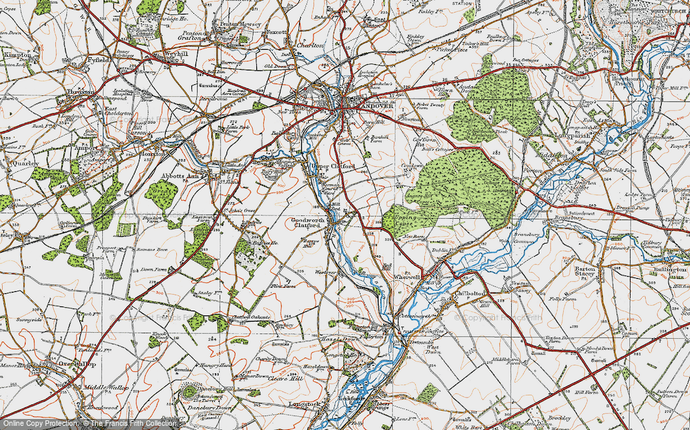 Old Map of Historic Map covering Augurs Hill Copse in 1919