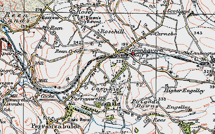 Old map of Goonhavern in 1919