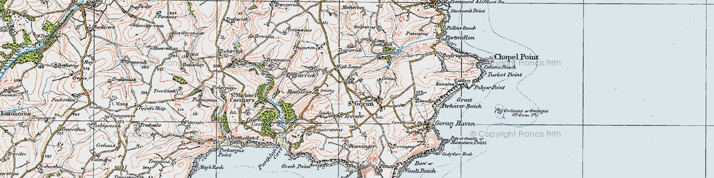Old map of Gorran Churchtown in 1919