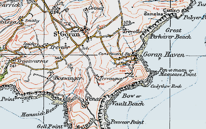 Old map of Gorran Haven in 1919