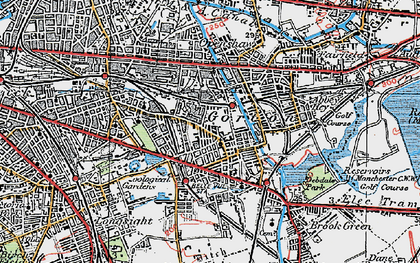 Old map of Gorton in 1924