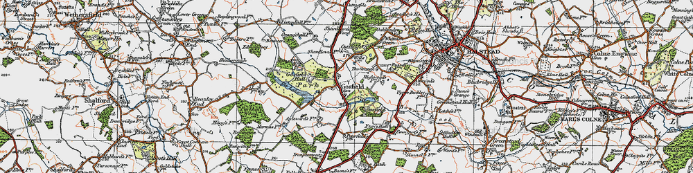 Old map of Gosfield in 1921