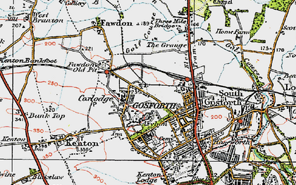 Old map of Gosforth in 1925