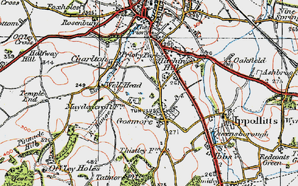 Old map of Gosmore in 1919