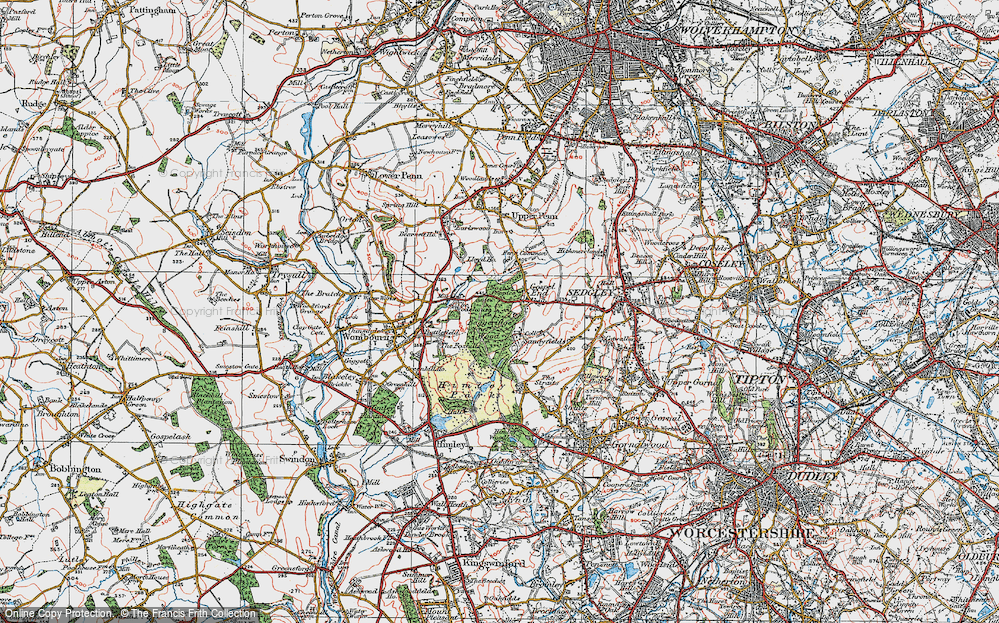 Old Map of Historic Map covering Baggeridge Country Park in 1921