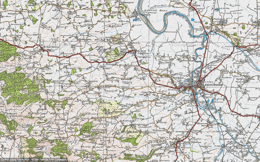 Old Map of Historic Map covering Woodcock Downs in 1919