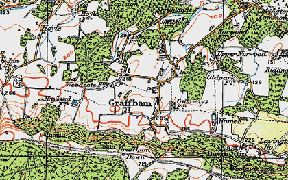 Old map of Graffham in 1920