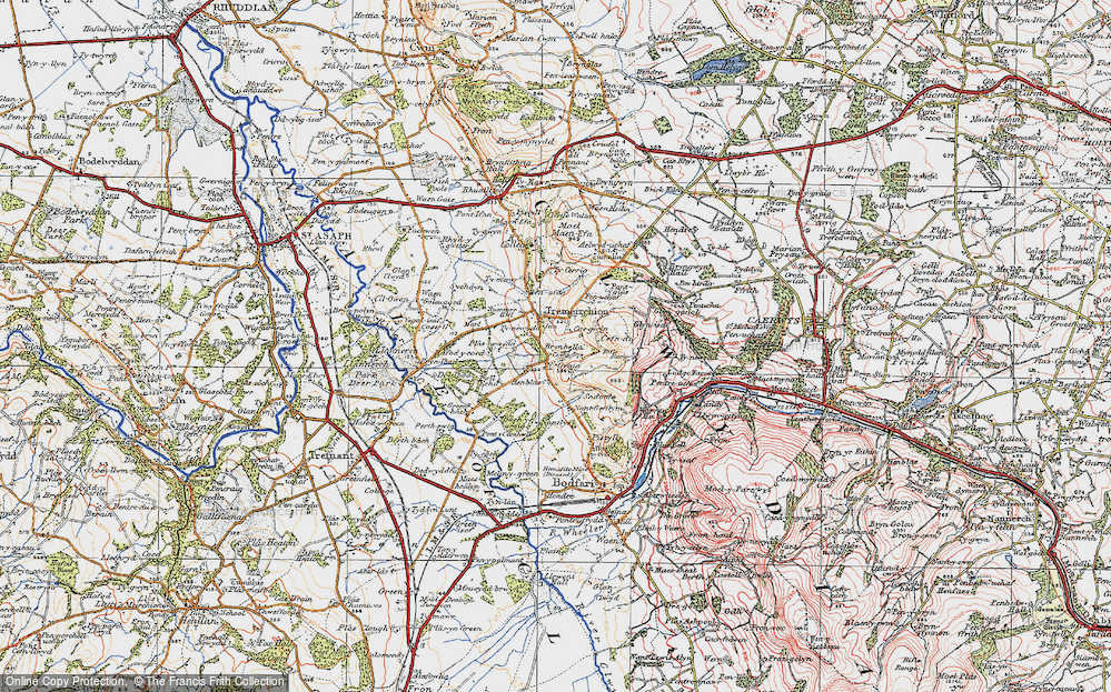 Old Map of Historic Map covering Bâch-y-graig in 1922