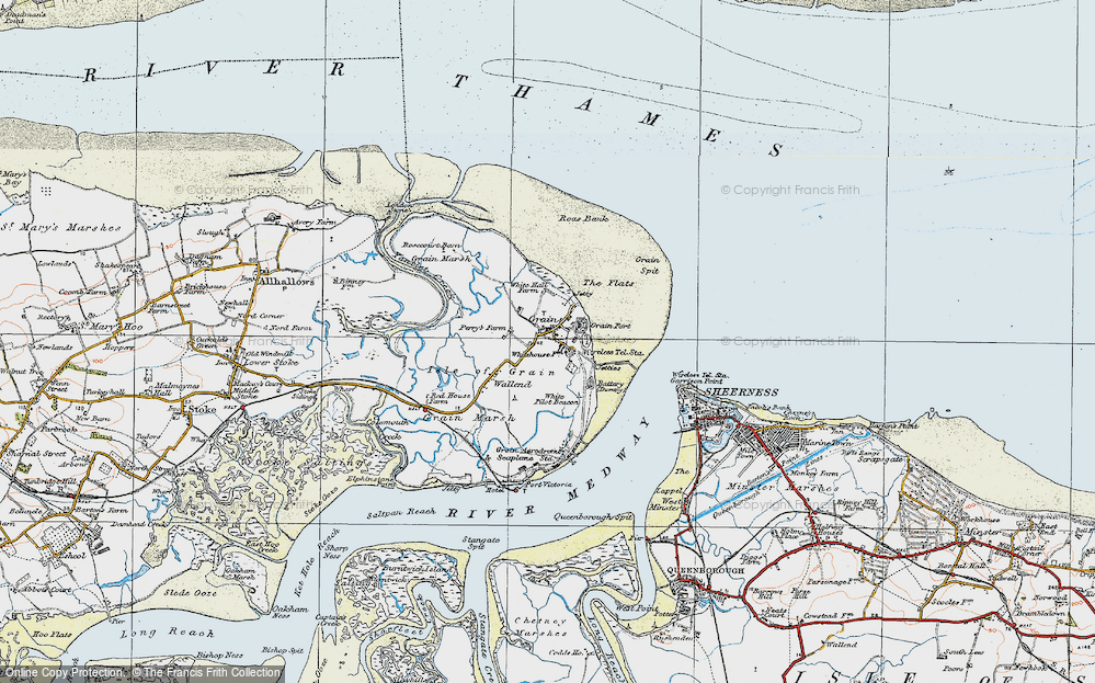 Old Map of Historic Map covering Lees Marshes in 1921