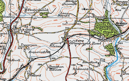 Old map of Grampound Road in 1919