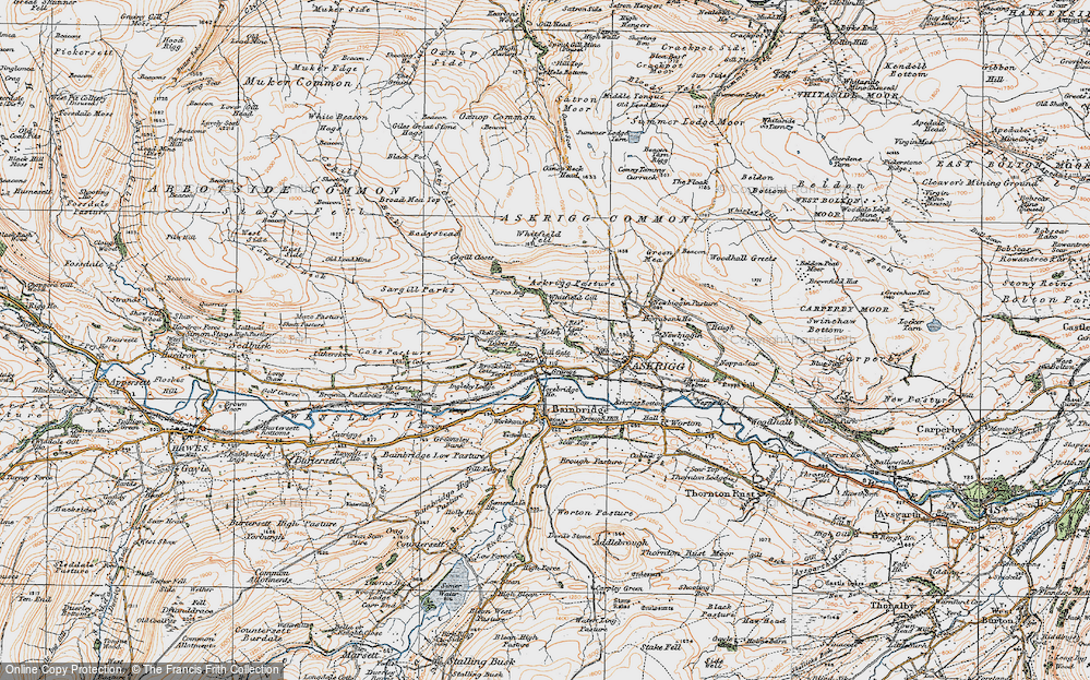 Old Map of Historic Map covering Askrigg Pasture in 1925