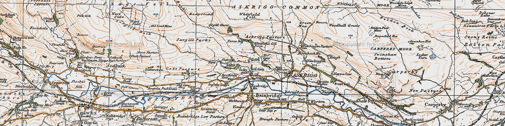 Old map of Whitfield Fell in 1925