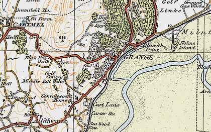Old map of Grange-Over-Sands in 1925