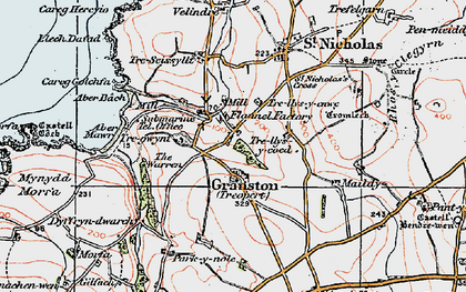 Old map of Aber Bach in 1923