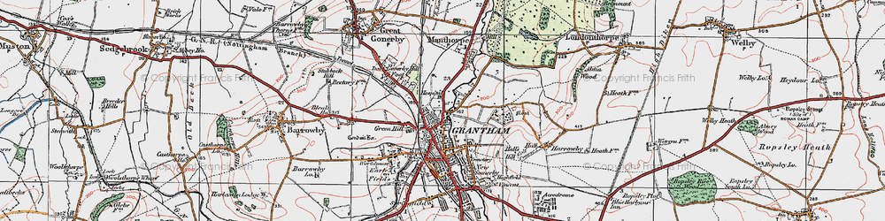 Old map of Grantham in 1922