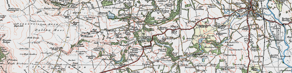 Old map of Grantley Hall in 1925