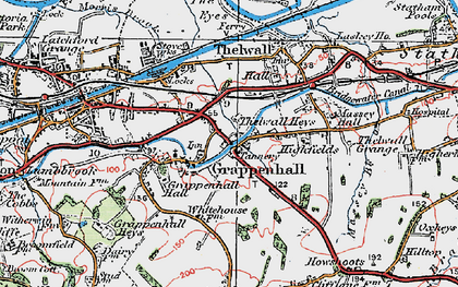 Old map of Grappenhall in 1923