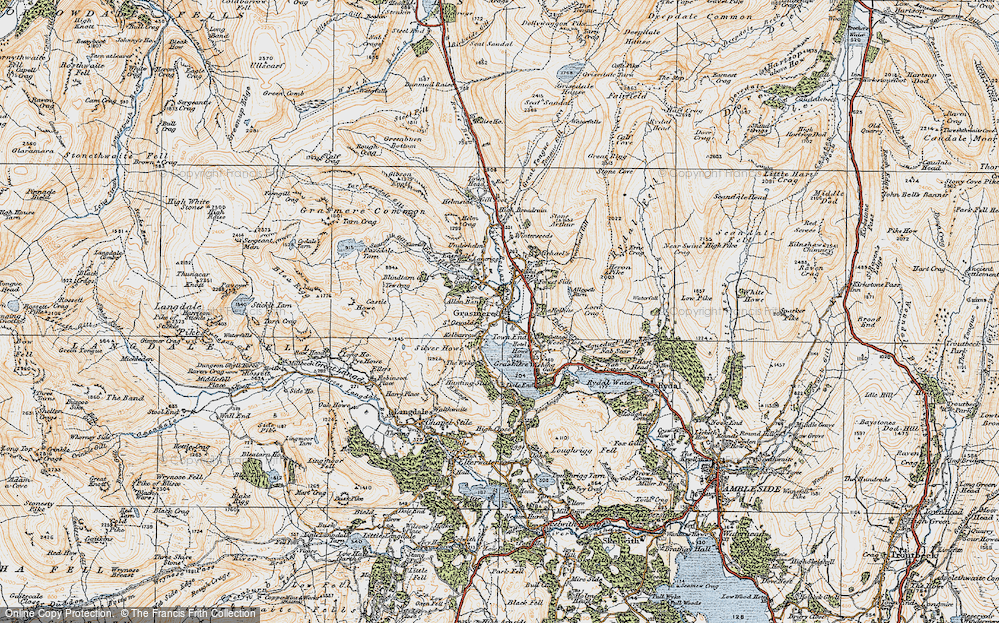 Old Map of Grasmere, 1925 in 1925