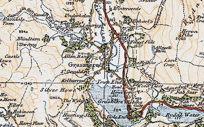 Old map of Grasmere in 1925
