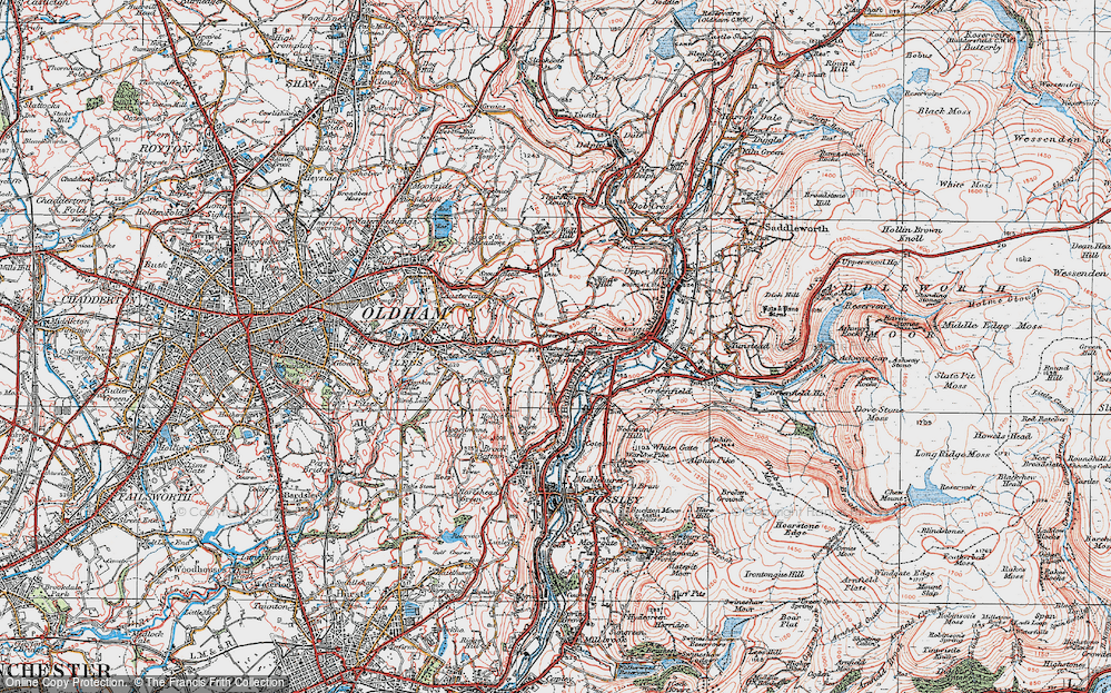 Old Map of Grasscroft, 1924 in 1924