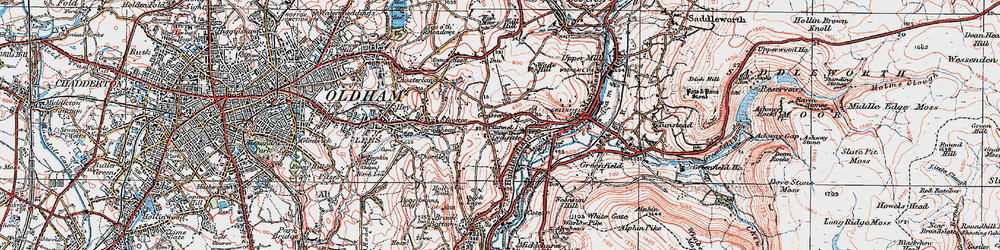 Old map of Grasscroft in 1924