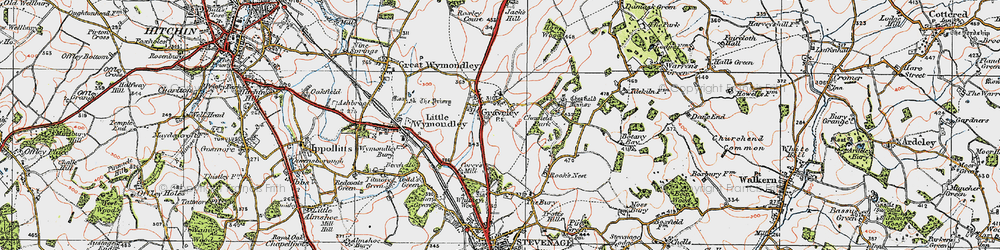 Old map of Graveley in 1919