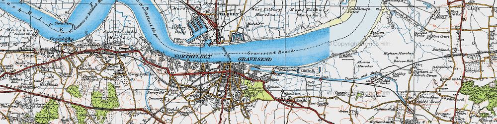 Old map of Gravesend in 1920