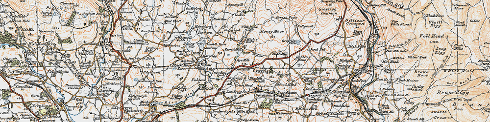 Old map of Whinfell Beacon in 1925