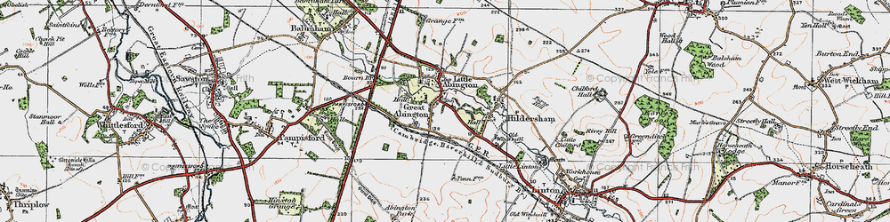 Old map of Great Abington in 1920