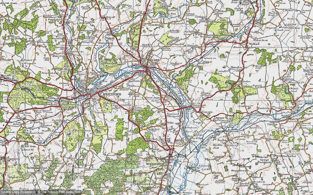 Old Map of Great Amwell, 1919 in 1919