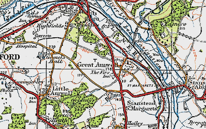 Old map of Great Amwell in 1919