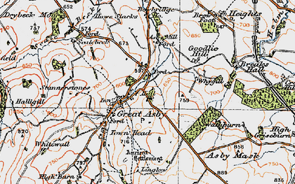 Old map of Asby Hall in 1925