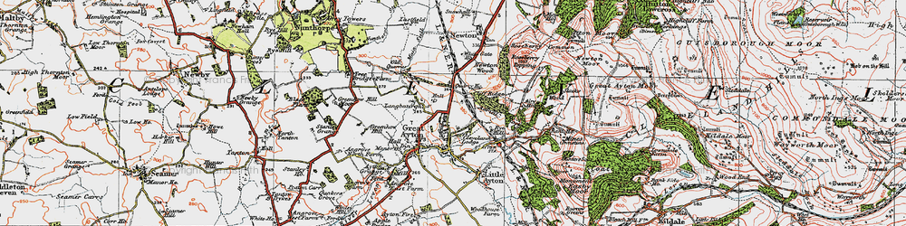 Old map of Great Ayton in 1925