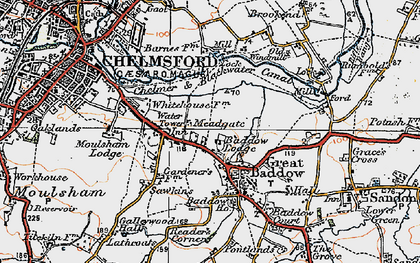 Old map of Great Baddow in 1921