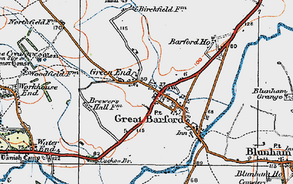 Old map of Great Barford in 1919