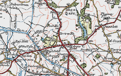 Old map of Great Barr in 1921
