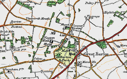 Old map of Great Barton in 1920