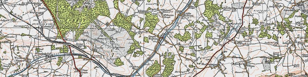 Old map of Great Bedwyn in 1919