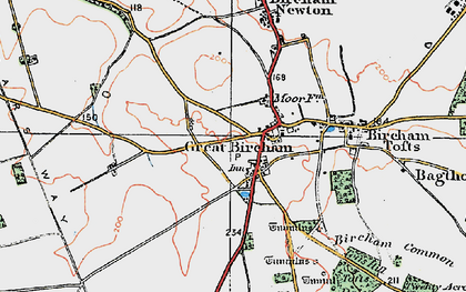 Old map of Great Bircham in 1921