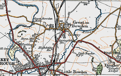 Old map of Great Bowden in 1920