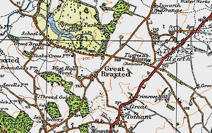 Old map of Tiptree Priory in 1921