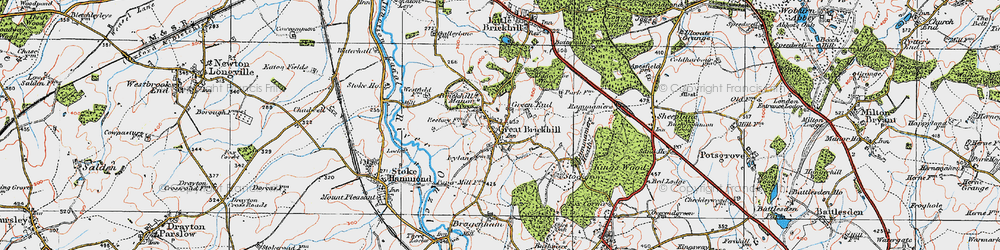 Old map of Great Brickhill in 1919