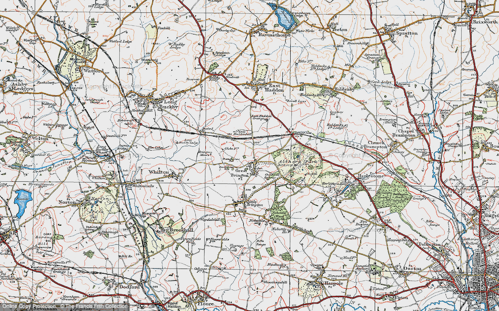 Old Map of Historic Map covering Althorp Park in 1919