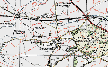 Old map of Great Brington in 1919