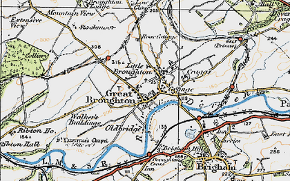 Old map of Great Broughton in 1925