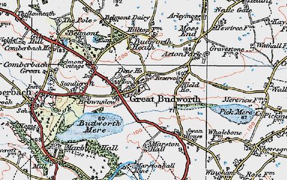 Old map of Great Budworth in 1923