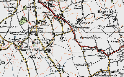 Old map of Great Burstead in 1920