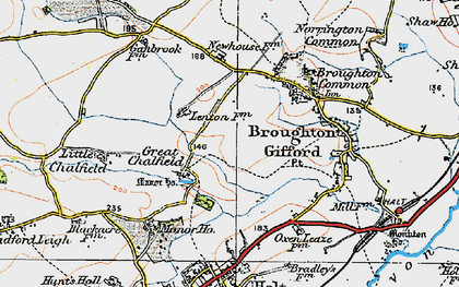 Old map of Great Chalfield in 1919