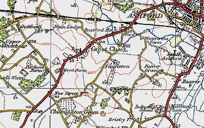 Old map of Great Chart in 1921